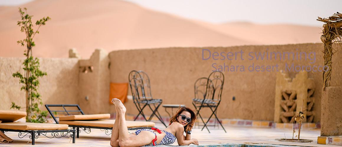 撒哈拉沙漠旁飯店泳池